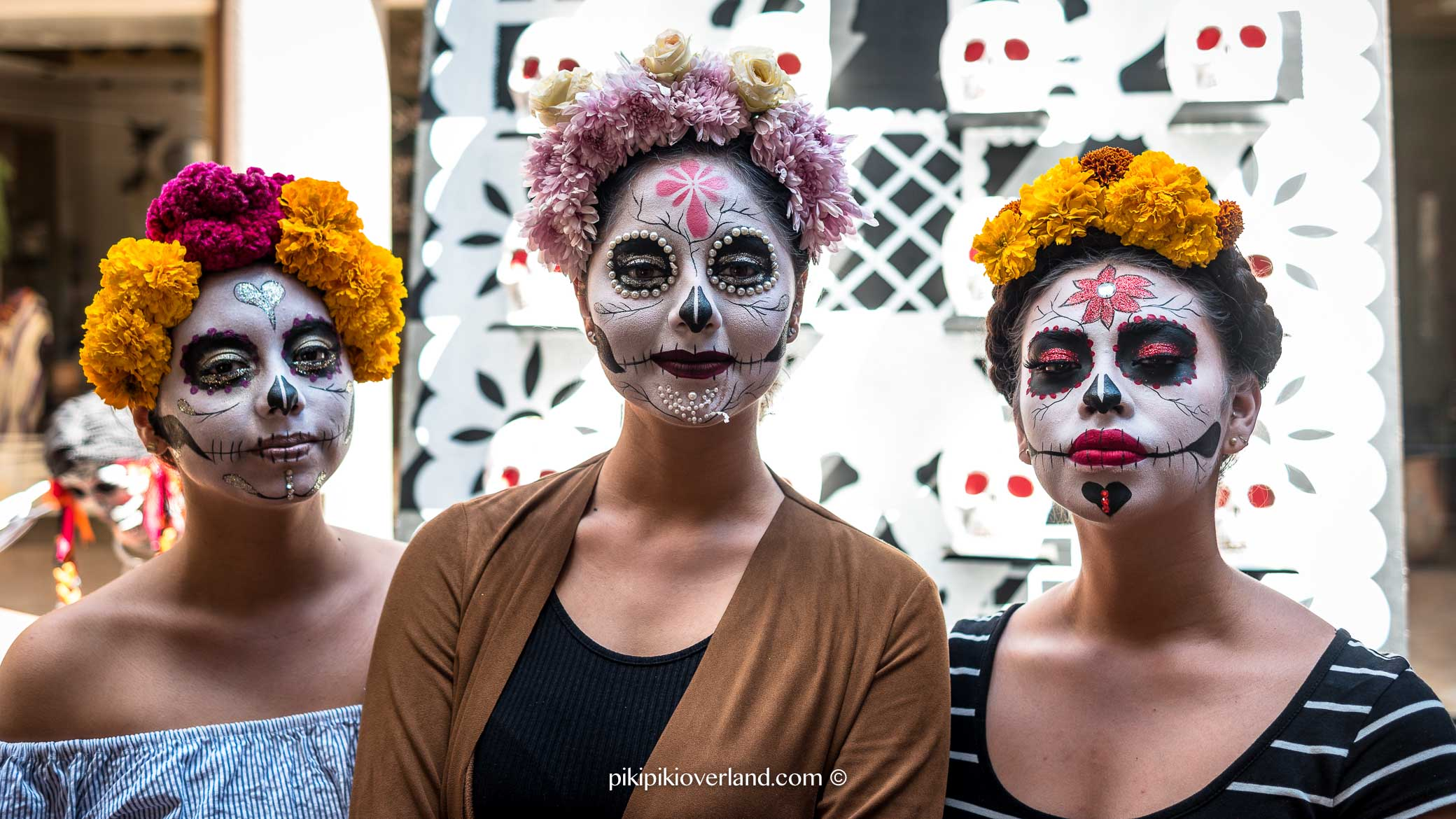 Beautiful face paintings for Day of the Dead festival in Mexico
