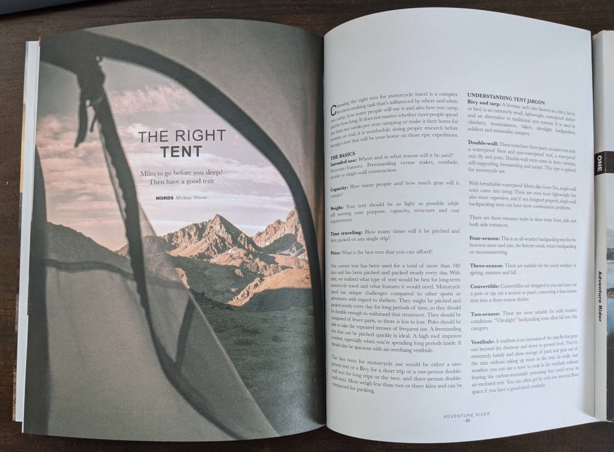 Gear article in Advrider. com first book publication